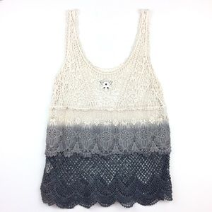 AEO Crocheted Layer Tank Top Cream Gray Charcoal